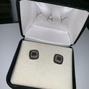 Black Diamond Earrings Sterling Silver